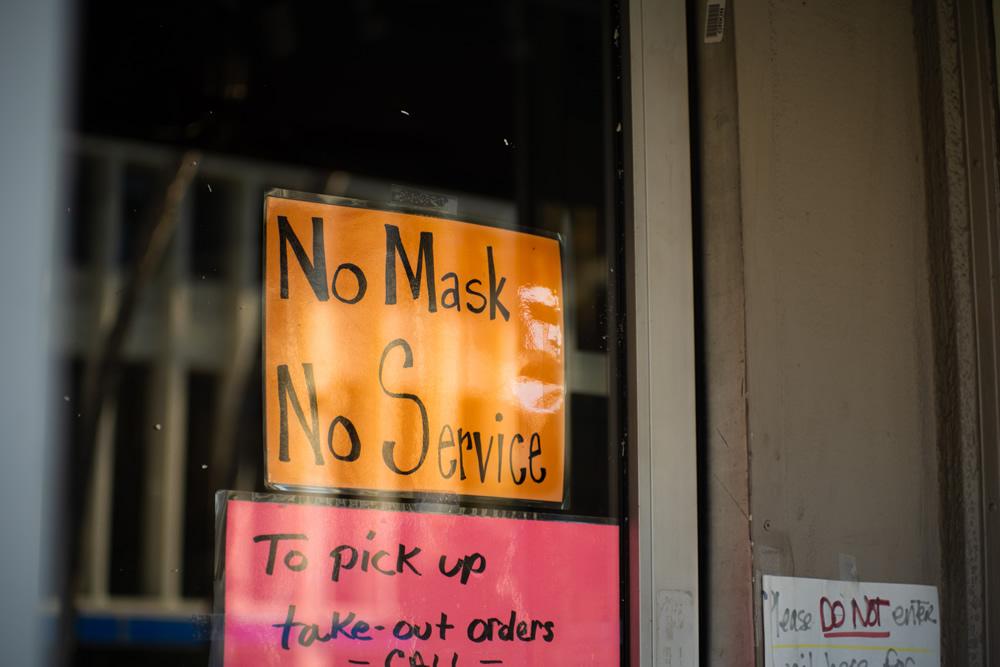 「No Mask. No SERVICE」(マスクをしていない方お断り