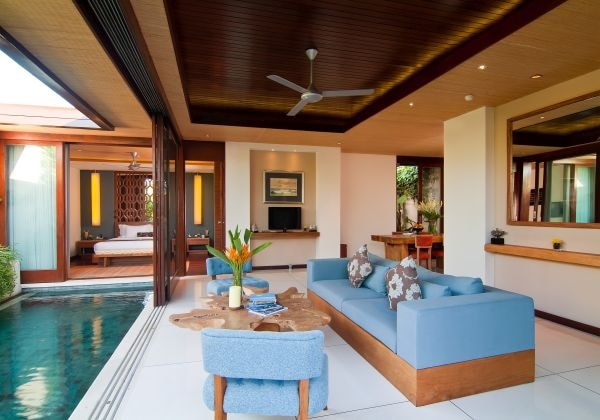 Living Area of Two Bedroom Deluxe Pool V