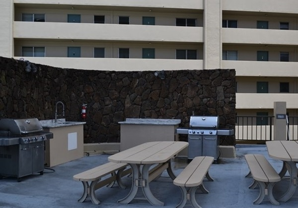 pool side BBQ grill