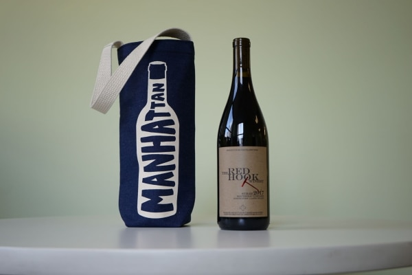 デニム生地のワイン用トートバッグ