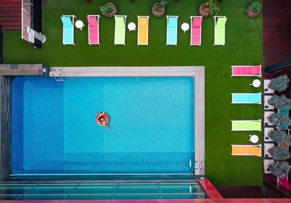 Outdoor Swimming Pool Aerial Shot